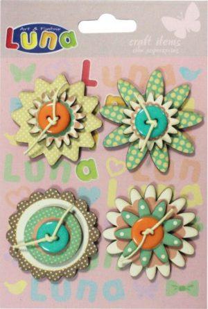 Luna Λουλούδια Χαρτόνι Πράσινα 4Τμχ (620285)