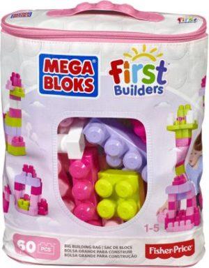F.P. Mega Bloks Τουβλάκια-Τσάντα 60Τμχ- Ροζ (DCH54)