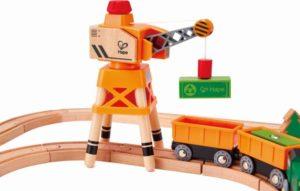 Hape Railway Ξύλινο Σετ Σιδηρόδρομος Crane and Cargo (E3722A)