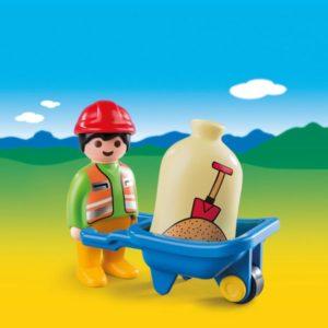 Playmobil 1.2.3 Εργάτης Με Καροτσάκι (6961)