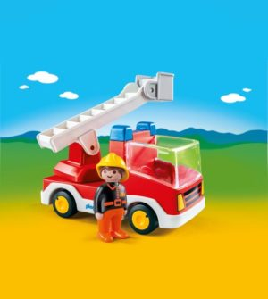 Playmobil 1.2.3 Πυροσβέστης Με Κλιμακοφόρο Όχημα (6967)
