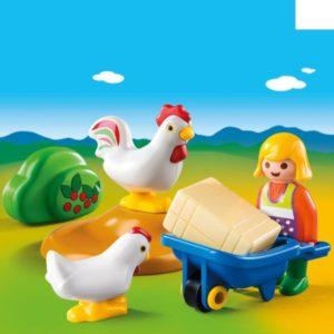 Playmobil 1.2.3 Αγρότισσα Με Κοτούλες (6965)
