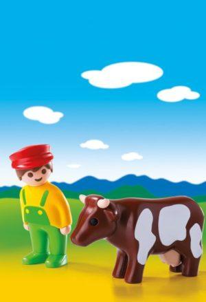 Playmobil 1.2.3 Αγρότης Με Αγελάδα (6972)