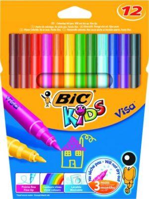 Bic Μαρκαδόροι Ζωγραφικής Kids Visa Fine - 12Τμχ (888695)