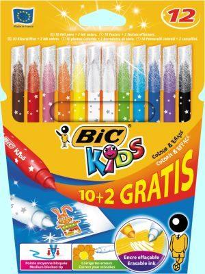 Bic 10+2 Μαρκαδόροι Ζωγραφικής Kids Colour & Erase (880507)