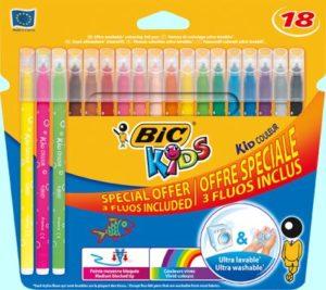 Bic Μαρκαδόροι Ζωγραφικής Kids Couleur Fluo 15+3 (937511)