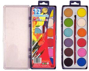 Νερομπογιά Ταμπλέτα Στρογγυλή-12 Χρώματα (Σ0618)