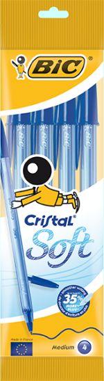 Bic Στυλό Cristal Soft Μπλε-4Τμχ (918527)