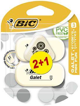 Bic Γόμα Galet 2+1 Mini Fun Gratis (841888)