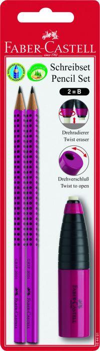 Faber Castell Μολύβι Grip Φούξια 2Τμχ & Γόμα/Ξύστρα Combi (12308042)