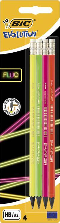 Bic Μολύβι Γραφίτη Evolution Fluo Με Γόμα-4Τμχ (942053)