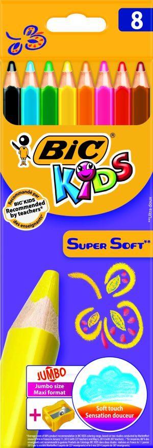 Bic Ξυλομπογιές Kids Super Soft & Ξύστρα-8Τμχ (8959211)
