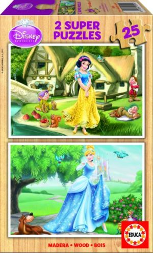 Educa Παζλ Ξύλινο 2x25 Cinderella & Snow White (15591)