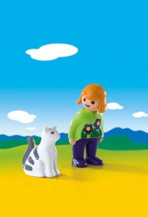Playmobil 1.2.3 Κορίτσι Με Γατούλα (6975)