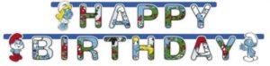 Γιρλάντα Χάρτινη Happy Birthday Στρουμφάκια 180cm (552181)