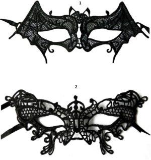 Clown Μάσκα Βενετίας Μαύρη Με Δαντέλα-2 Σχέδια (72373)