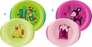 Chicco Σετ Πιάτο & Μπωλ Ροζ ή Πράσινο 12μ+ - 2 Σχέδια (F05-16002-10)