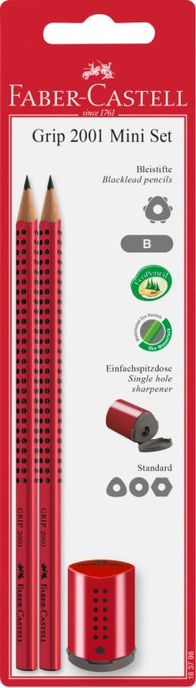 Faber Castell Μολύβια Grip 2Τμχ & Ξύστρα Mini Grip (12309451)