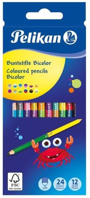 Pelikan Ξυλομπογιές Bicolor BSD 24 Χρώματα-12Τμχ (700146)