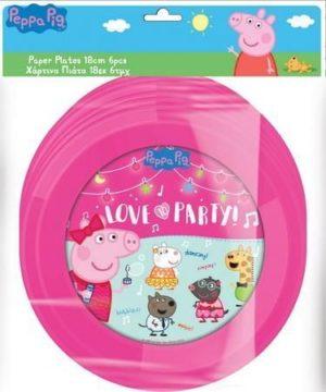 Peppa Pig Πιάτα Χάρτινα 18cm-6Τμχ (0482430)