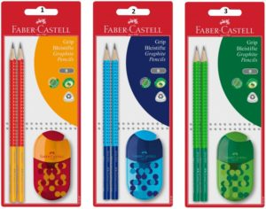 Faber Castell Μολύβια Grip Δίχρωμα 2Τμχ & Ξύστρα-Γόμα Combi-3 Χρώματα (12309768)