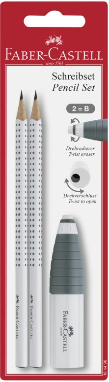 Faber Castell Μολύβια Grip Λευκά 2Τμχ & Γόμα/Ξύστρα Combi (12308041)