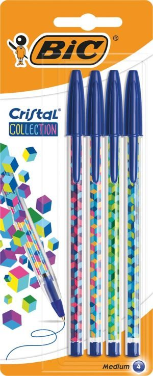Bic Στυλό Cristal Collection Μπλε-4Τμχ (964805)