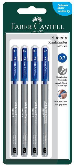 Faber Castell Στυλό Speedx Μπλε 3+1Τμχ (12309848)