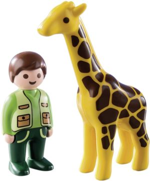 Playmobil 1.2.3 Φύλακας Ζωολογικού Κήπου Με Καμηλοπάρδαλη (9380)