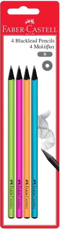 Faber Castell Μολύβια Στρογγυλά Πολύχρωμα BLK Color B-4Τμχ (12309770)